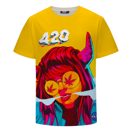 Stoned Girl Smoking Kush Color Splash 420 Marijuana T-Shirt