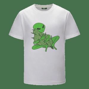 Stoner Alien Hugging Marijuana Mary Jane Nug Weed T-shirt