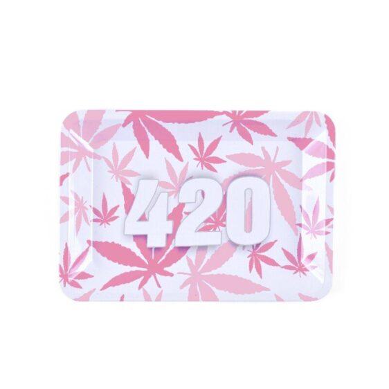 Stylish 420 Pinky Marijuana Leaf Herb Rolling Tray