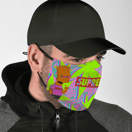 Supreme Stoned Bart Simpson High on Weed Colorful Face Mask