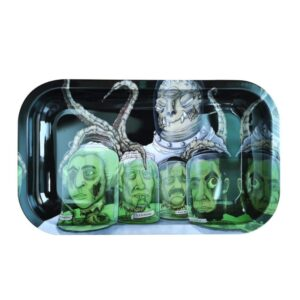 Trippy Alien Preserving Head Submerged in Kush Rolling Tray