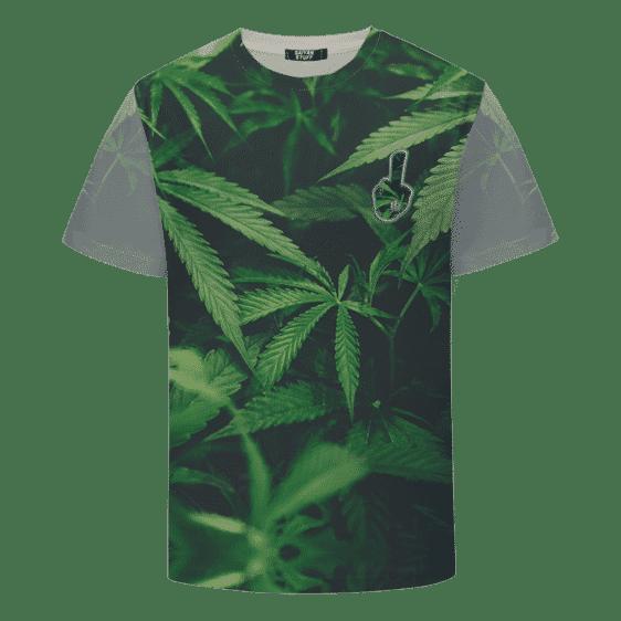 Trippy Fuck Off Overall Marijuana Hemp Print 420 T-Shirt