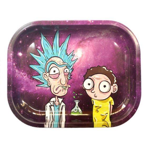 Trippy High Rick & Morty Hitting Marijuana Rolling Tray