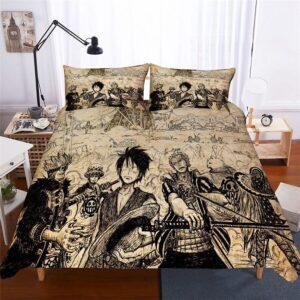 Vintage One Piece Luffy Zoro Trafalgar Law Beige Bed Set