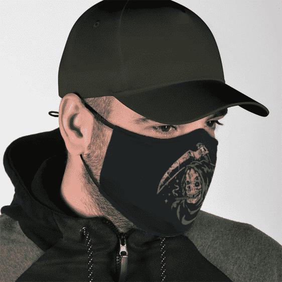 Weed Smoking Stoner Grim Reaper Green Dope Face Mask