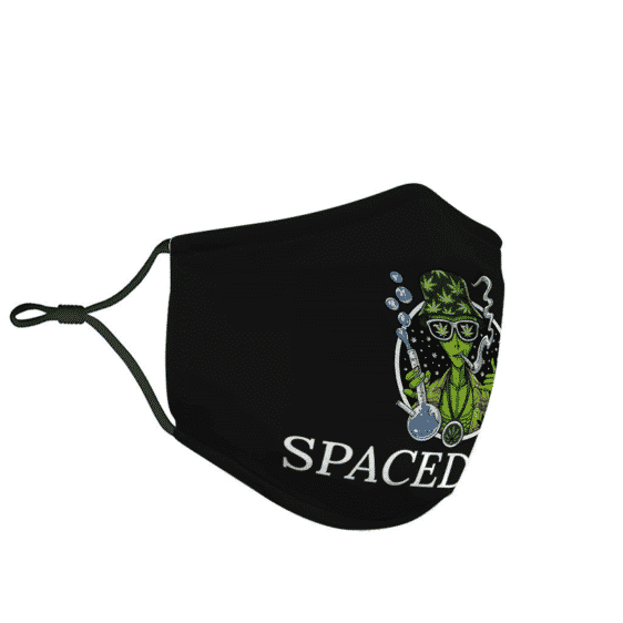 Weed Stoner Alien Spaced Out Cool Marijuana Dope Green Face Mask