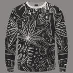 420 Blaze It One Love Marijuana Black And White Dope Crewneck Sweatshirt