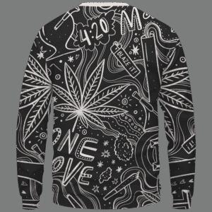 420 Blaze It One Love Marijuana Black And White Dope Crewneck Sweatshirt - Back Mockup