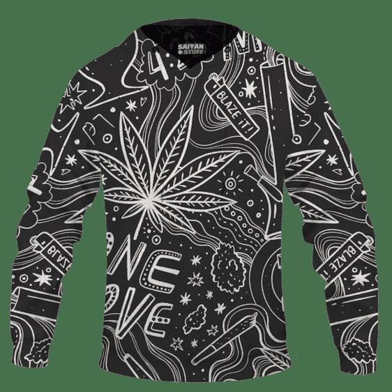 420 Blaze It One Love Marijuana Black And White Dope Hoodie