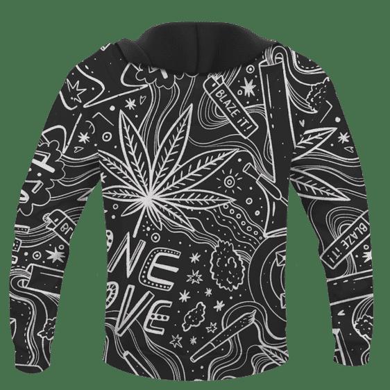 420 Blaze It One Love Marijuana Black And White Dope Hoodie -BACK