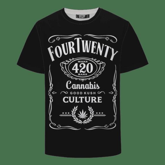 420 Wake And Bake Cannabis Kush Dope Cool Black T-shirt