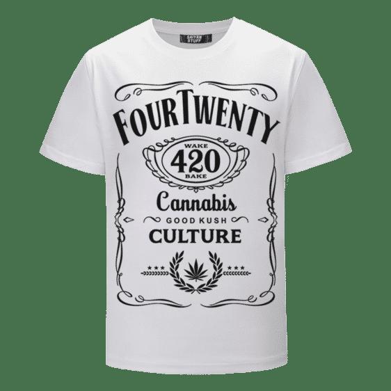 420 Wake And Bake Cannabis Kush Dope Cool White T-shirt