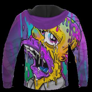 Acid LSD Homer Simpson Stoned Melted Artistic Hoodie - BACK