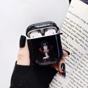 Akatsuki Itachi Uchiha Hand Sign Kunai Black Airpods Case