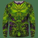All Over Marijuana Trippy Dope Art Design 420 Weed Crewneck Sweater