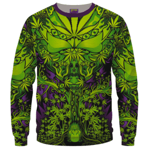 All Over Marijuana Trippy Dope Art Design 420 Weed Crewneck Sweater