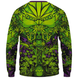 All Over Marijuana Trippy Dope Art Design 420 Weed Crewneck Sweater Back
