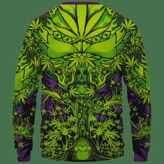 All Over Marijuana Trippy Dope Art Design 420 Weed Crewneck Sweater Back