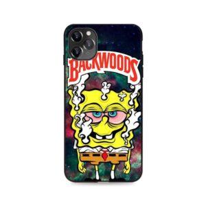 Backwoods Spongebob High On Weed Black iPhone 12 Cover