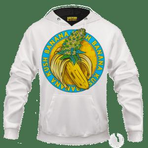 Banana Kush Marijuana Strain Awesome Logo White Hoodie