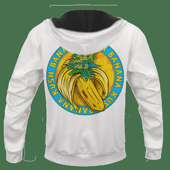 Banana Kush Marijuana Strain Awesome Logo White Hoodie -BACK