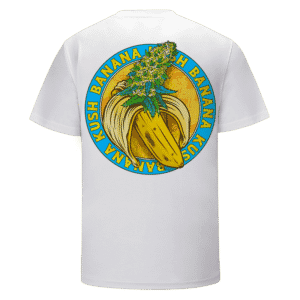 Banana Kush Marijuana Strain Awesome Logo White T-shirt