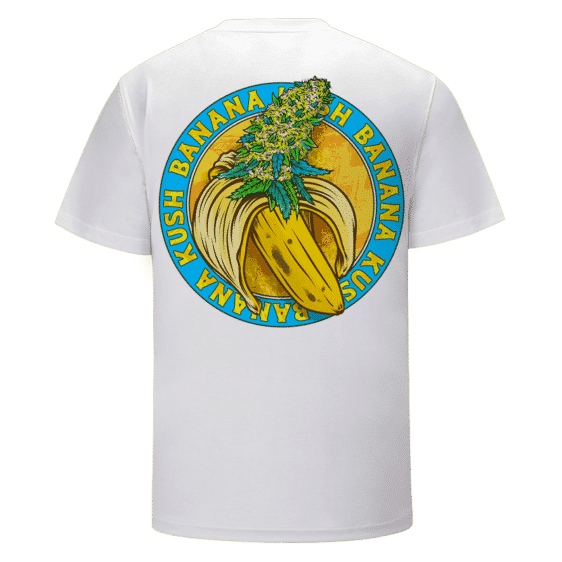 Banana Kush Marijuana Strain Awesome Logo White T-shirt