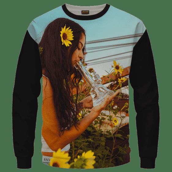 Beautiful Girl Smoking Bong Hit Dabs Cool Sweater