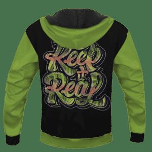 Black Keep It Real Cannabis Marijuana Themed Hoodie