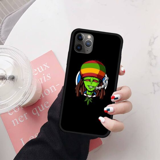 Bob Marley Alien Cannabis Lover Black iPhone 12 Cover