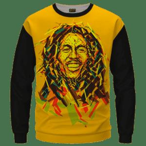 Bob Marley Artistic Painting Orange Black Crewneck Sweater