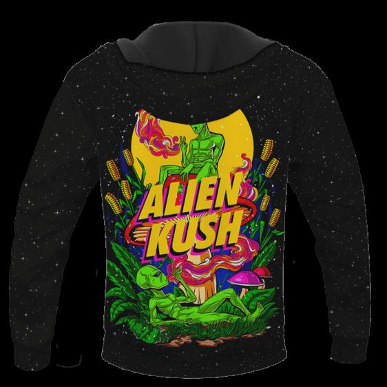 Calming Potent Alien Kush Indica Dominant Hybrid Marijuana Hoodie Back