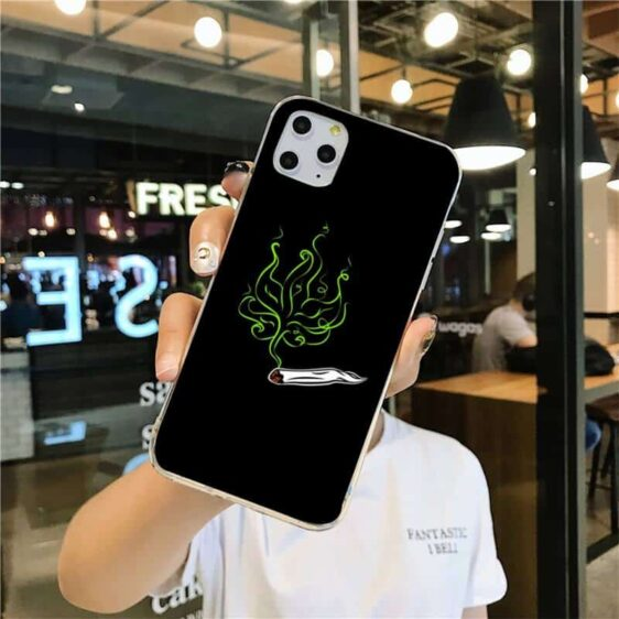 Cannabis Leaf Shaped Smoke From Joint Black iPhone 12 Case