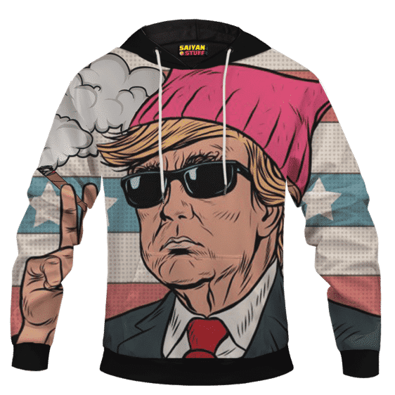 Cartooned Donald Trump Smoking Weed Pullover Hoodie