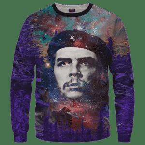 Che Guevara Cannabis Space Galaxy Farm Pullover Crewneck Sweatshirt