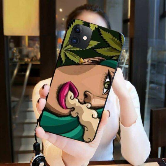 Close Up Hot Girl Smoking Marijuana iPhone 12 Cover