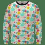 Colorful Marijuana Weed Hemp Print Pattern Crewneck Sweatshirt