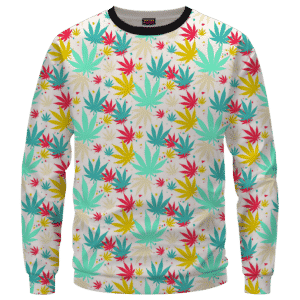 Colorful Marijuana Weed Hemp Print Pattern Crewneck Sweatshirt