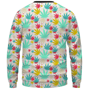 Colorful Marijuana Weed Hemp Print Pattern Crewnefck Sweatshirt - Back Mockup
