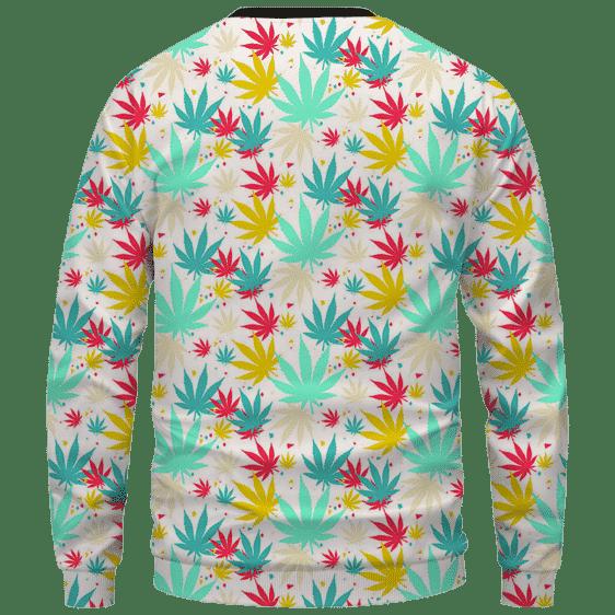 Colorful Marijuana Weed Hemp Print Pattern Crewnefck Sweatshirt - Back Mockup