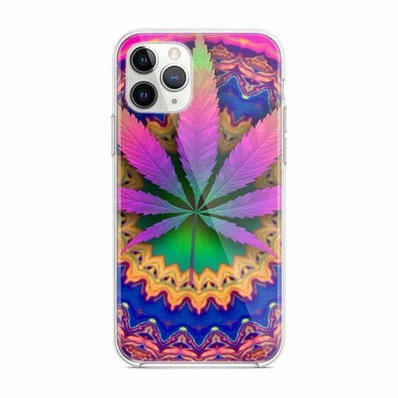Colorful Pyschedelic Marijuana Leaf Print iPhone 12 Case
