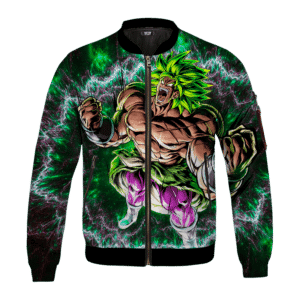 DBZ Broly Charging Awesome Art Green Black Bomber Jacket