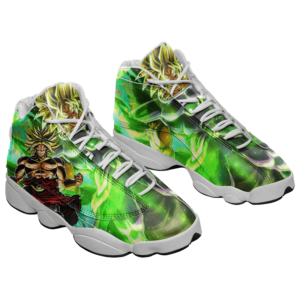 DBZ Broly Legendary Super Saiyan Green All Over Basketball Sneakers - Mockup 1