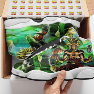 DBZ Broly Legendary Super Saiyan Green All Over Basketball Sneakers - Mockup 2