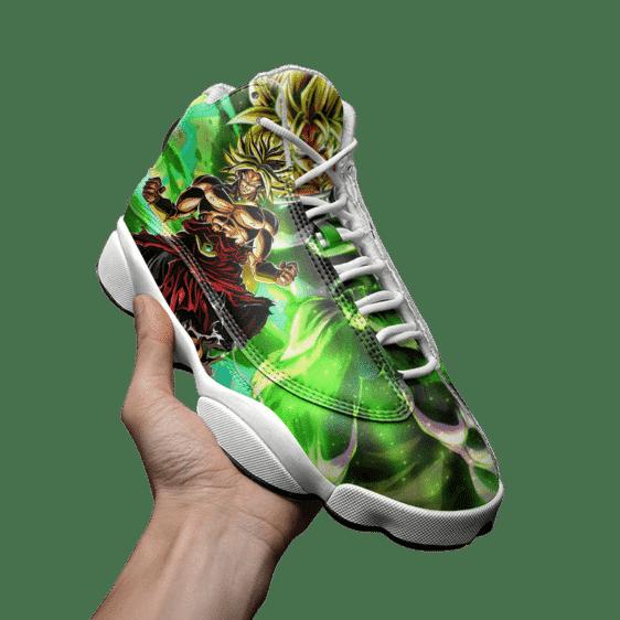 DBZ Broly Legendary Super Saiyan Green All Over Basketball Sneakers - Mockup 3