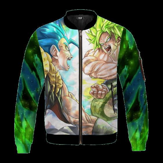 DBZ Gogeta Vs Broly Anime Art All Over Print Green Bomber Jacket