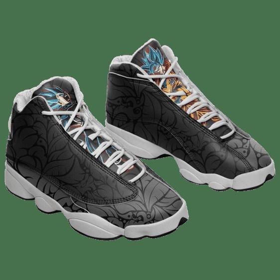 DBZ Goku Vegeta Mad Super Saiyan Blue Floral Gray Cool Basketball Sneakers - Mockup 1