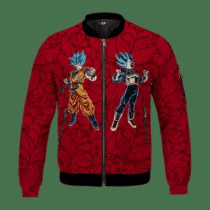 DBZ Goku Vegeta Mad Super Saiyan Blue Floral Red Cool Bomber Jacket