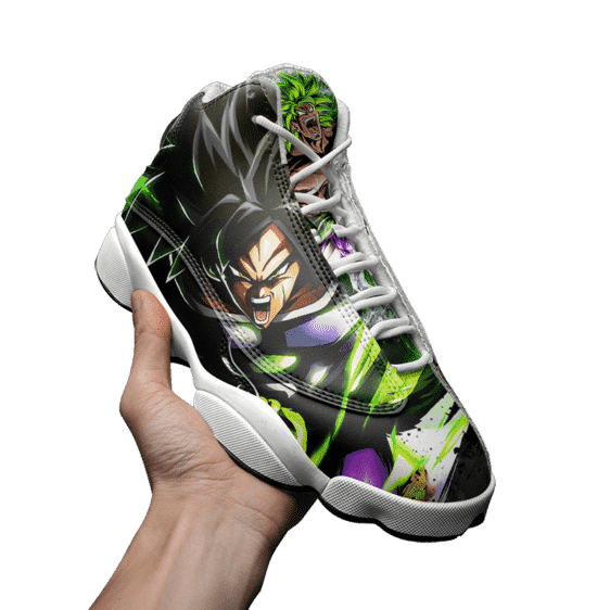 DBZ Legendary Saiyan Broly Charged Up Awesome Cool Basketball Shoes - Mockup 3