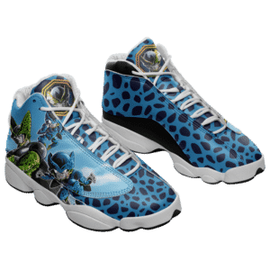 DBZ Perfect Cell And Cell Jr Blue Basketball Shoes - Mockup 1